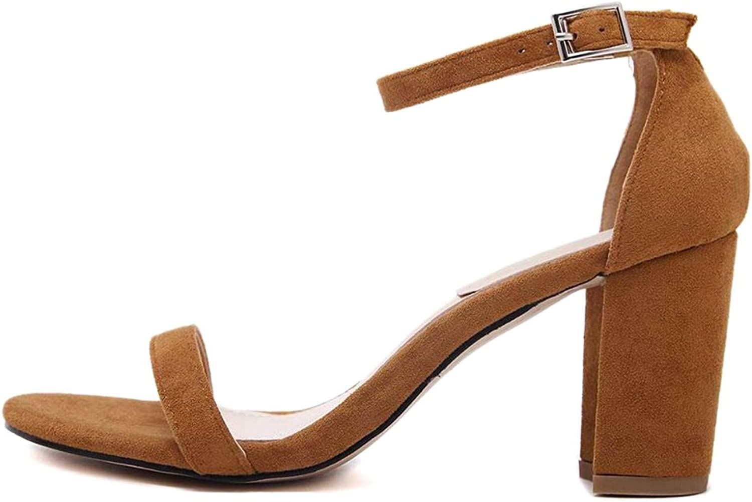 Womens Sandals Ankle Strap Chunky Square High Heels Open Toe Party Dress Sandal
