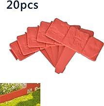 20pcs Plástico Valla para Jardín Imitación Piedra, 25*23.5cm Bordes de Jardín de Plástico Plegable Cenefa del Arriate, Planta limítrofe Decoración para Proteger los Bordes del Césped o Patio (Naranja)
