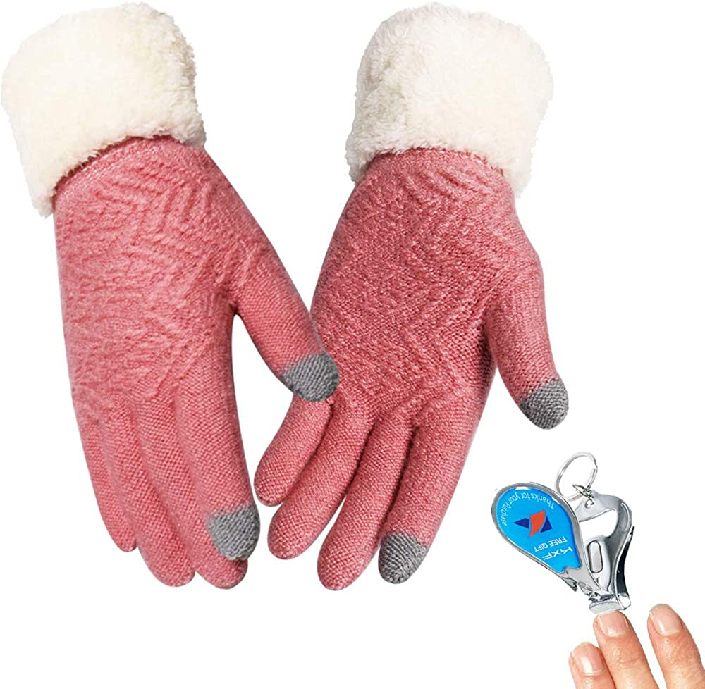Winter Gloves for Women Knit Touch Screen Gloves Windproof Texting Typing Thick Thinsulate Lined Anti-Slip Gloves