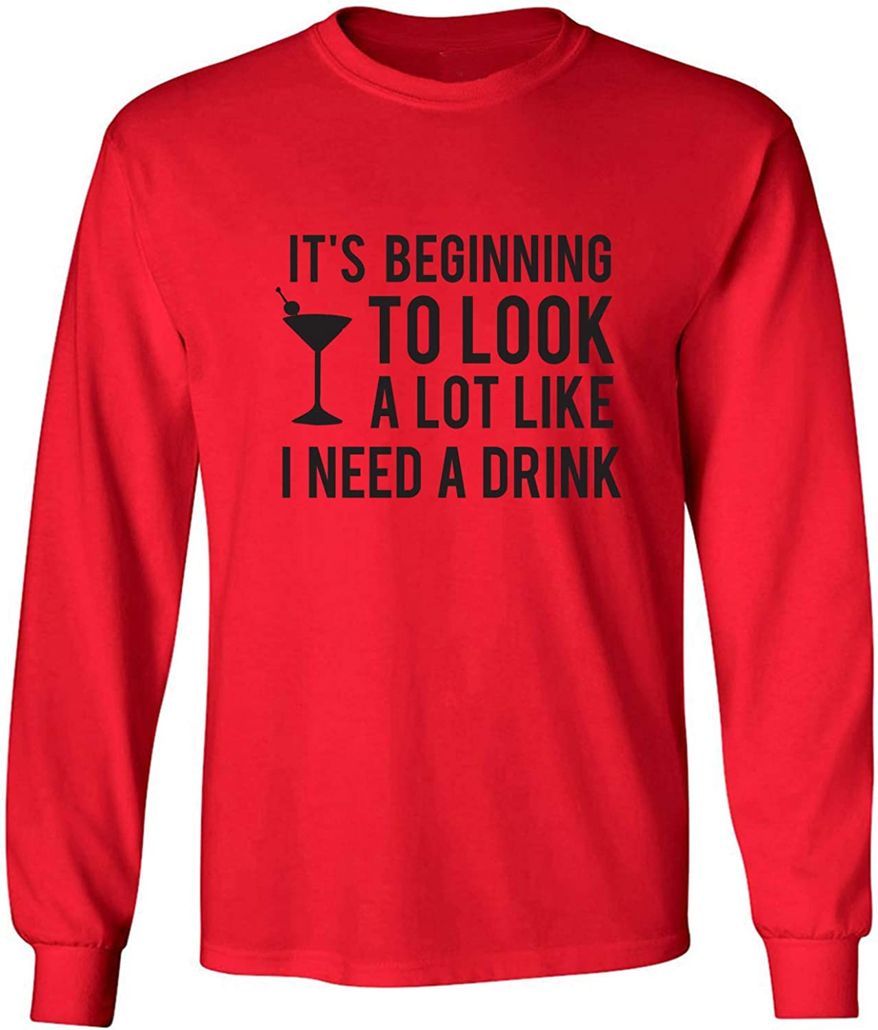 It's Beginning to Look A Lot Like Adult Long Sleeve T-Shirt in Red - XXXX-Large