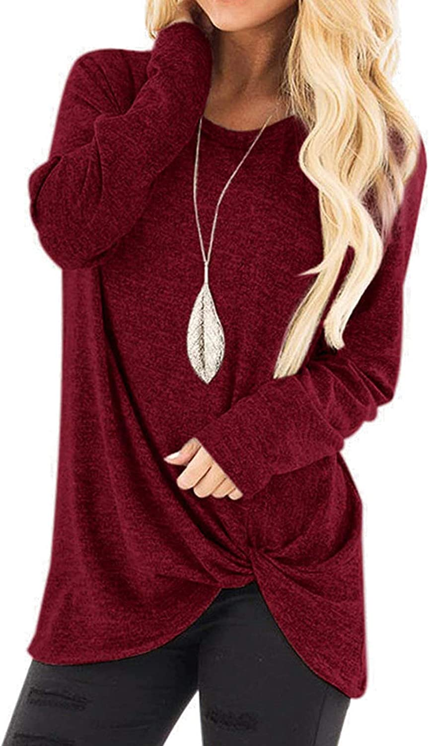 Long Sleeve Shirts for Women to Wear with Leggings Casual Crewneck Solid Color Loose Long Blouses T Shirts Sweatshirts