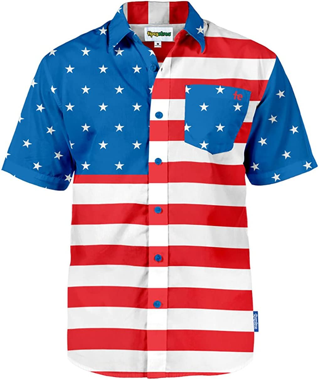Tipsy Elves Men's American Flag Button Down Shirts - Patriotic USA Red White and Blue Hawaiian Shirts