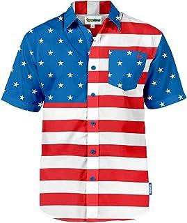 Men's American Flag Button Down Shirts - Patriotic USA...