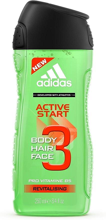 Adidas - Gel Douche Fonctionnel 3 en 1 pour Homme Active Start - Revitalisant - Shampoing - Multi-bénéfices - 250ml