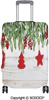 SCOCICI Anti-scratch Baggage Luggage Cover Protector Noel Tree Branches over Timber Board with Handmade Toy Figures and Berries Image Multi-function Travel Suitcase Cover (Cover ONLY, Suitcase NOT In