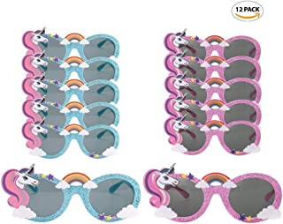 Party Avenue Unicorn Party Sunglasses | (12-Pack) 6-Blue and 6-Pink | Unicorn Shaped Sunglasses | Unicorn Kids Party Supplies | Perfect Unicorn Birthday Party Favor