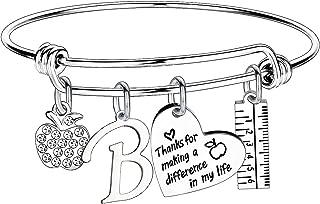 Teacher Gifts for Women Teacher Initial Bangle Bracelet Teacher Appreciation Gifts thank You Gifts for Teachers
