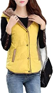Macondoo Womens Casual Hoodie Cotton-Padded Coat Fleece Lined Down Vest