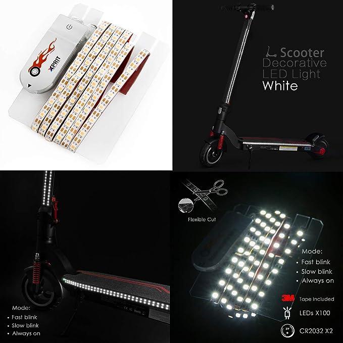 imperm/éable color/é lumi/ère d/écorative s/écurit/é de cyclisme nocturne pour Xiaomi M365 Skateboard Scooter Scooter /électrique pliable LED Strip Flashlight Bar Lamp Powstro Scooter LED Strip Light