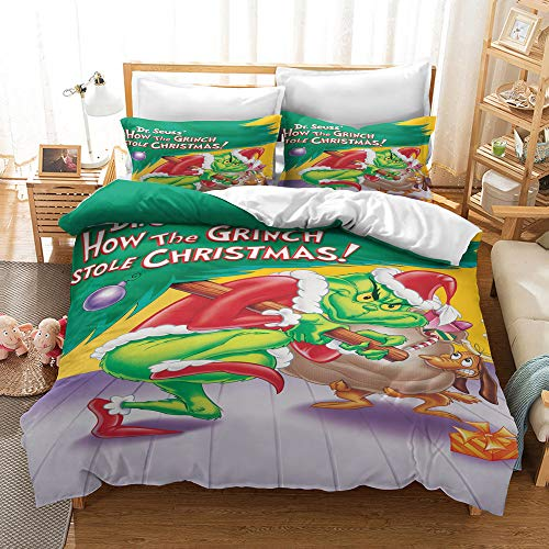 Enhome Duvet Cover Bedding Set for Single Double King Size Bed, 3D Christmas Print Microfiber Duvet Set Quilt Case with Pillowcases (The Grinch7,200x200cm)