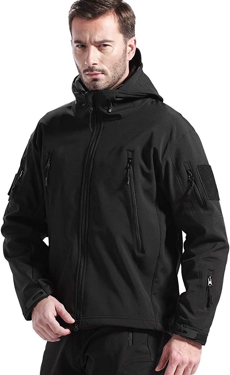 FREE SOLDIER Men's Softshell Hiking Jacket Waterproof Hooded Tactical Hunting Jacket