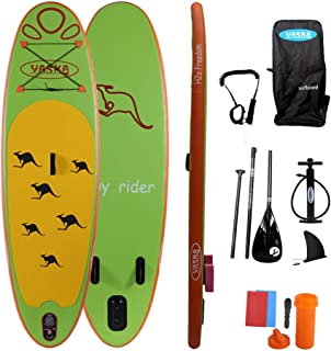 YASKA Children Inflatable Stand Up Paddle Board with SUP, Hand Pump, Adjustable Aluminum Floating Paddle, Repair Kit, Ruck...