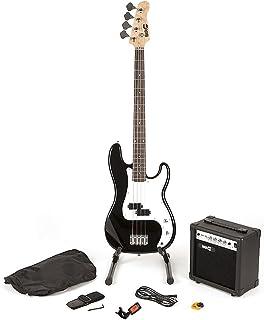 RockJam Super Kit de bajo completo con amplificador de guitarra, Sintonizador de guitarra, Soporte, Bolsa y accesorios, color Negro