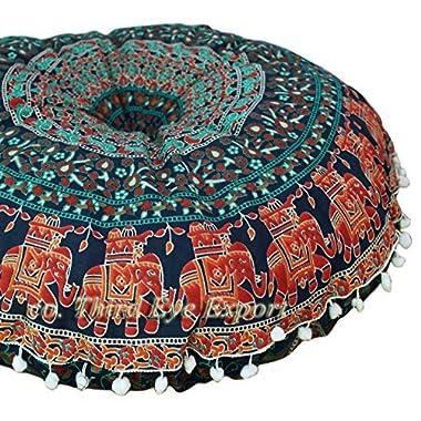 Third Eye Export - 32 In Mandala Barmeri Large Round Floor Pillow Cover Cushion Meditation Seating Ottoman Throw Cover Hippie Decorative Zipped Bohemian Pouf (Blue 4)