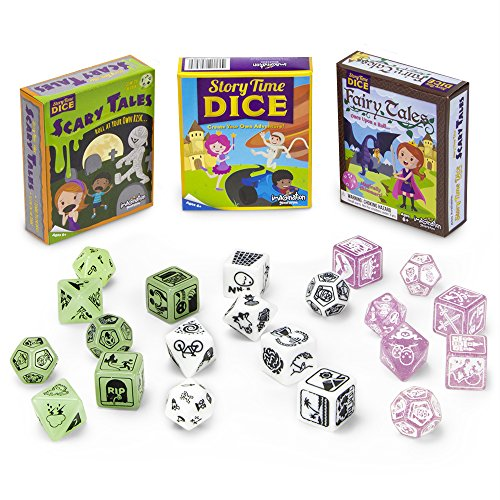 Never-Ending Story Bundle: Story Time Dice + Scary Tales and Fairy Tales Expansions (Set of 3) | Adventure Storytelling Board Game | 7 Polyhedral Dice, 4 Suggested Ways to Play | Beginner Role-Playing