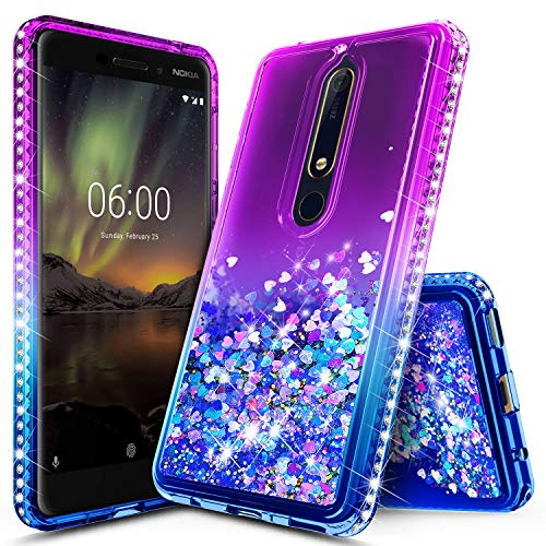 Nokia 6.1 Case, Nokia 6 2018 Case, (NOT for Nokia 6 2017) NageBee Glitter Liquid Quicksand Waterfall Floating Flowing Sparkle Shiny Bling Diamond Shockproof Girls Cute Case -Purple/Blue