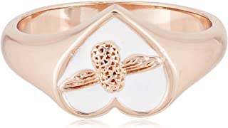 Olivia Burton Women's Love Bug Signet White & Rose Gold Ring - OBJLHR14B