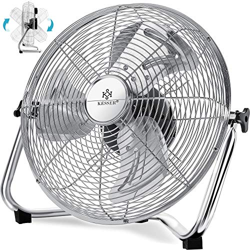 Kesser® Windmaschine Retro Stil   50cm Ventilator in Chrom   Standventilator   Tischventilator Bodenventilator   3-Stufen   robuster Stand   stufenlos neigbarer Ventilatorkopf   Chrom Silber