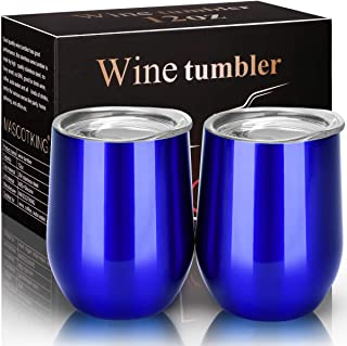 MASCOTKING Wine Glasses Tumbler - 12 oz 2 Pack - Double Wall Vacuum Insulated Cup with Lids for Keeping Wine, Coffee, Drinks - Beverage Warm in Winter