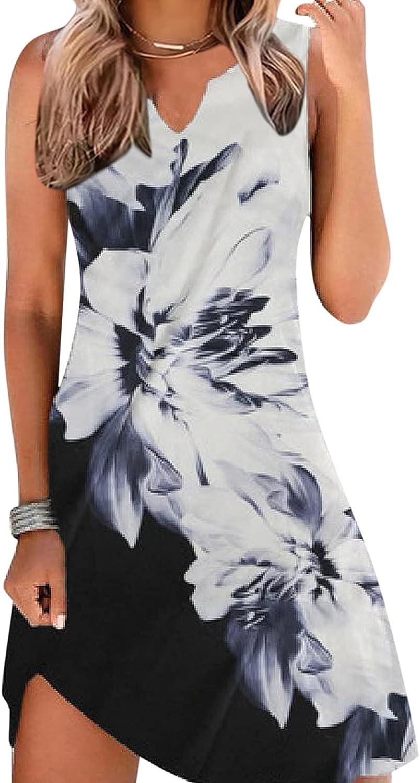 Gerichy Summer Dresses for Women 2021, Womens Sleeveless Crewneck Floral Loose Boho Short Mini Tank Dress Workout Dress