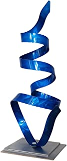 Statements2000 Blue Contemporary Centerpiece, Modern Table Decor, Abstract Metal Art - Kitchen, Office, Mantel, Coffee Table Decor - Blue Whisper Accent by Jon Allen - 18.5
