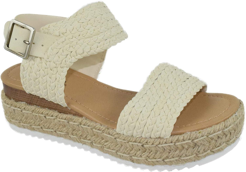 SODA Overseas parallel import regular item WOMEN WEDGE SANDALS Max 75% OFF OPEN TOE STRAP ESPADRILL FLATFORM ANKLE