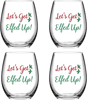 Let's Get Elfed Up Christmas Stemless Wine Glass Gift for Women Friends, 15 Oz Funny Stemless Wine Glasses Set, Perfect Gift Idea for Christmas Wedding Birthday Party Present, Set of 4