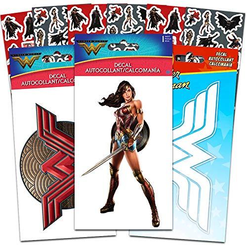 DC Comics Wonder Woman Decals Set with Bonus Stickers - 3 Large Wonder Woman Decal Stickers for Car, Laptop, Walls, Room Decor (Wonder Woman Merchandise)