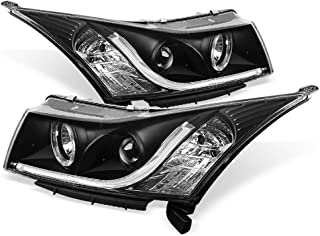 ACANII - For 2011-2016 Chevy Cruze LED Tube DRL Halo Black Housing Projector Headlights Headlamps, Driver & Passenger