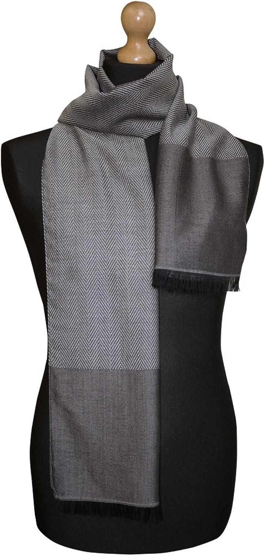 Maalbi Luxury Italian Herringbone Pattern Virgin Wool Silk Jacquard Scarf (brown)