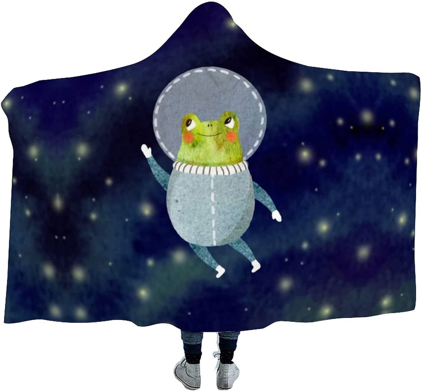 Cheerful Frog Astronaut Wearable Don't miss the shopping campaign Hooded Blanket Cloak W for Soft