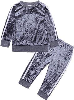 2Pcs Fashion Toddler Baby Girl Velvet Sweatshirt Tops Pant Set Tracksuit
