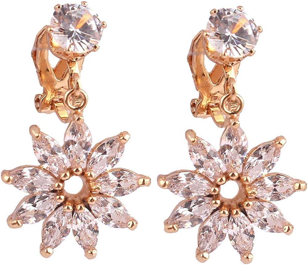 HAPPYAN High-grade Copper AAA Cubic Zircon Leaf Flower Shape Clip on Earrings No Pierced for Women Charm Bridal Jewelry Lightweight No Ear Hole Earrings