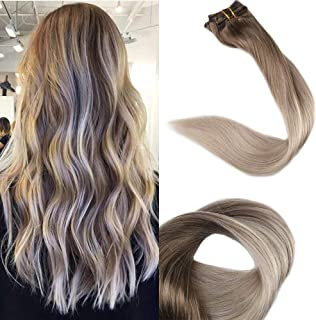 Full Shine 16 inch Clip in Ombre Human Hair Extensions Full Head Clip in Hair Extensions Blonde Balayage Color #8 Fading to #60 and #18 Ash Blonde 10 Pcs 100gram Full Head Set