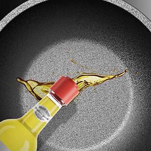 Unbne Sartén para saltear Olla Profunda Woks Wok con Tapa Wok de Fondo Plano con Mango Resistente al Calor Woks de Hierro Martillado a Mano para cocinar Verduras salteadas,30cm
