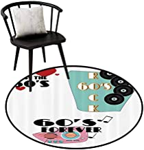 Breathable Round Rug 1960s Decorations Collection for The Kitchen Quotes Sixties Rock and 60s Forever Messages Hearts Memories Nostalgia Design Red D35(90cm)