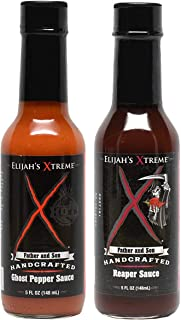 Elijah's Xtreme Ghost Pepper and Carolina Reaper Hot Sauce 2-Pack (5 oz Each)
