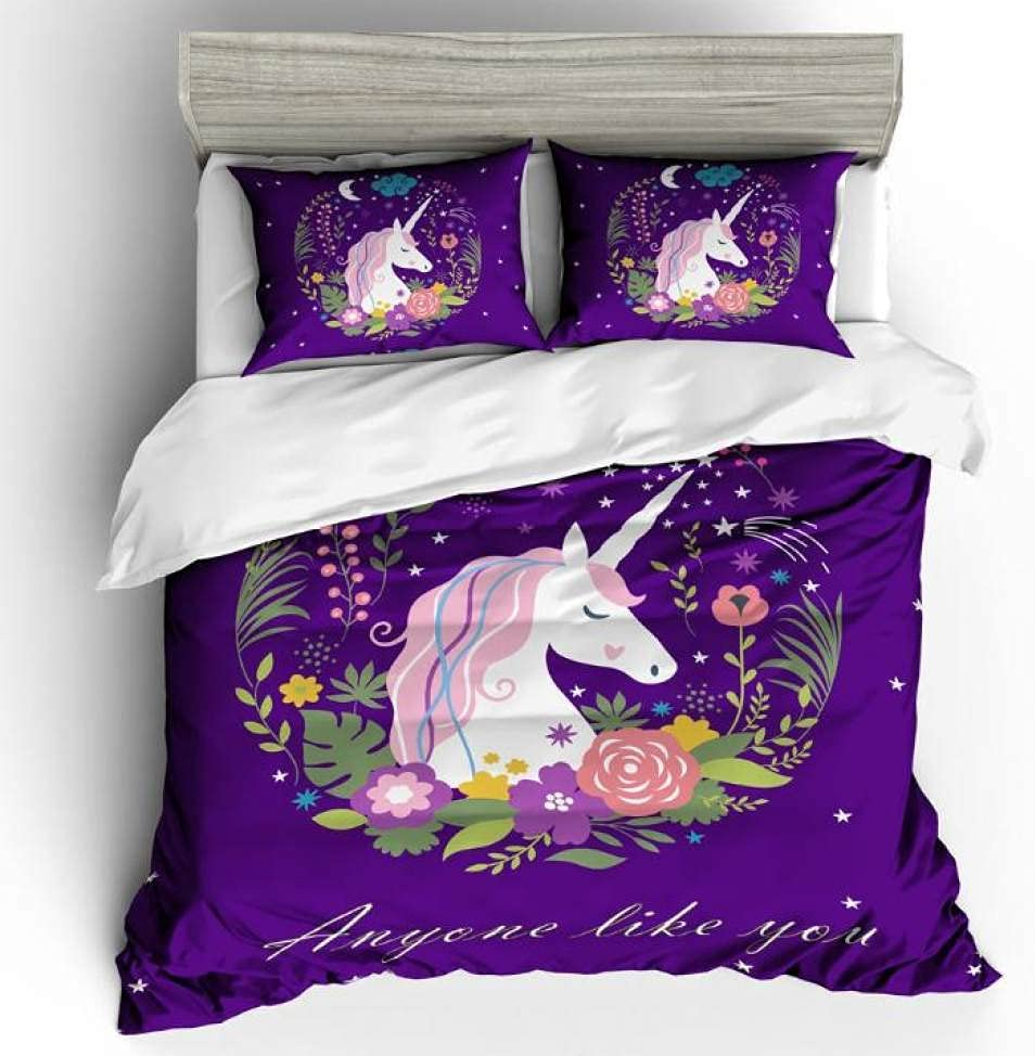 GROPC Reservation Fashion Unicorn Duvet Cover Bedding Twin Set Floral Limited time cheap sale Print