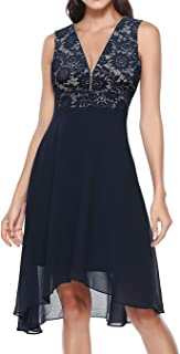 BeryLove Women's Vintage Lace Cocktail Dress High Waist Bridesmaid Party Swing Dress