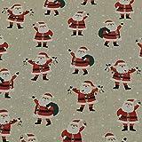 Dekostoff Christian, Weihnachtsmann, Leinenoptik, beige