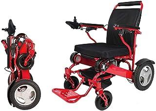SLRMKK Silla de Ruedas Plegable portátil, Silla de Ruedas eléctrica de aleación de Aluminio, Silla de Ruedas Inteligente Plegable para Ancianos discapacitados portátil, Rojo