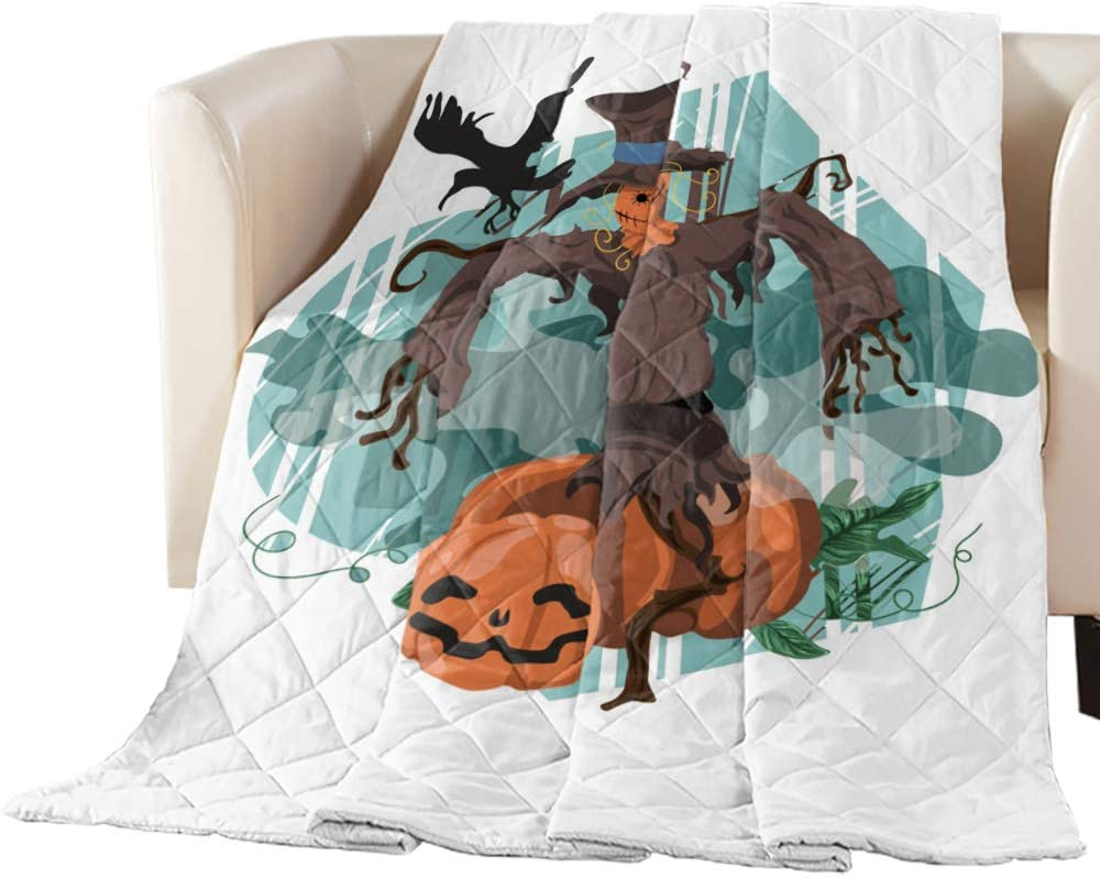 Fantasy Staring Quilted Throw Scarecrow Horror Pumpkin Gifts Mail order Blanket-