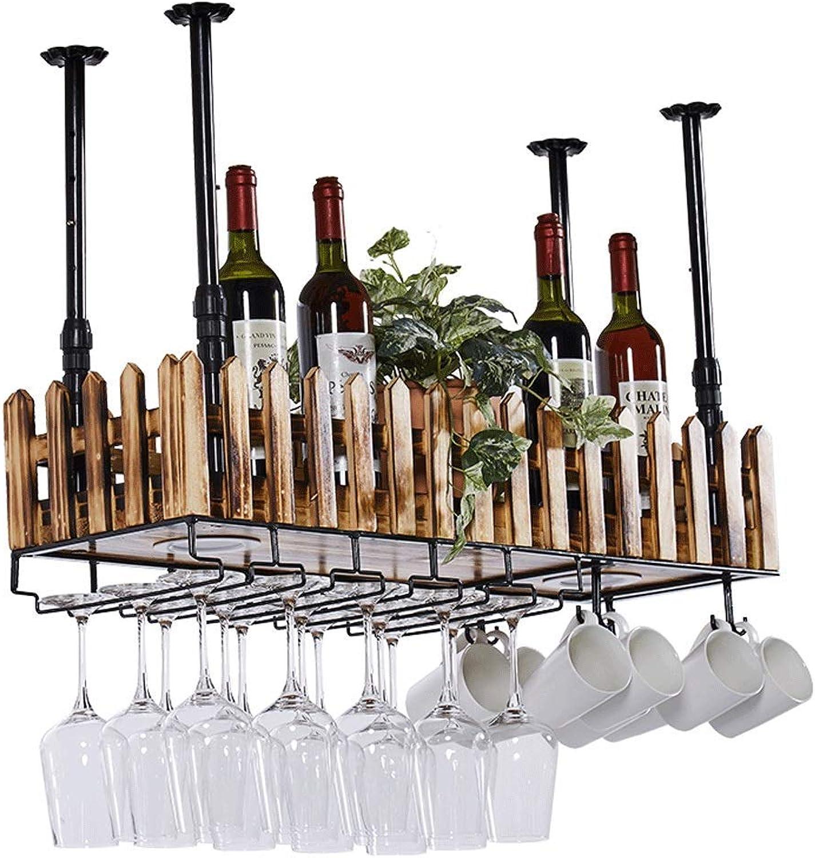 tienda WENYAO Rack de vinos montado en la Parojo Rack Rack Rack Multifuncional Sala de Estar Portavaños al revés Lámpara Colgante Rack de Almacenamiento de Madera Maciza (Color  Colgante, Tamaño  60x20cm)  promociones