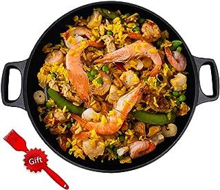 YICHA Kitchenware Restaurant Grade Non-stick Paella Pan 16-inch With Compound Bottom, Bonus 1x Silicon Brush, Black