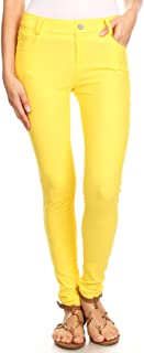 ICONOFLASH Women's Jeggings with Pockets - Pull On Skinny Stretch Colored Jean Leggings with Plus Size Options