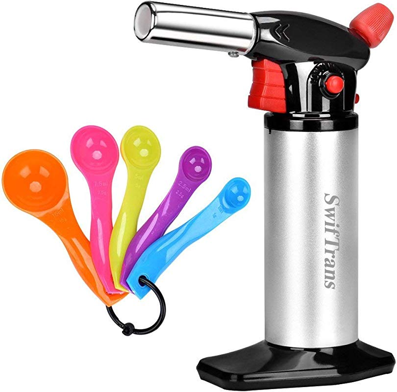Kitchen Torch Swiftrans Culinary Torch For Cooking Baking Blow Torch With Safety Lock And Adjustable Flame 5 Set Of Measuring Spoons As Gift