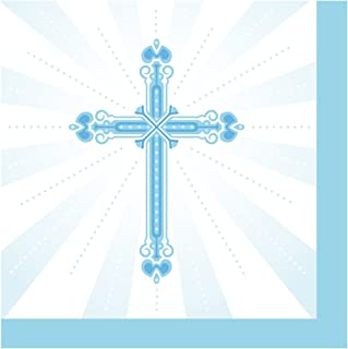 Creative Converting 652223 36 Count Paper Beverage Napkins, Blessings, Blue