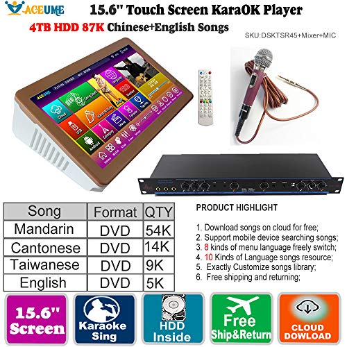 4TB HDD 87K Touch screen karaoke player, Chinese English Songs...