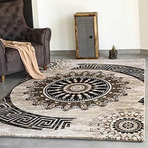VIMODA Teppich Klassisch Wohnzimmer Schlafzimmer Gemustert Kreis sehr dicht gewebt Meliert Ornamente Muster in Braun Beige Schwarz - Top Qualität, Maße:120 x 170 cm