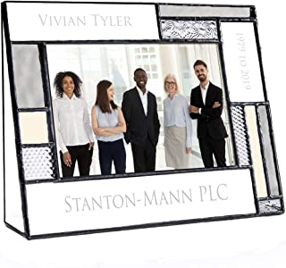 Retirement Picture Frame Personalized Engraved Glass Keepsake 4x6 Photo Farewell Gift for Coworker Company Service Employee Recognition Pic 392 EP635 (4x6 Horizontal)